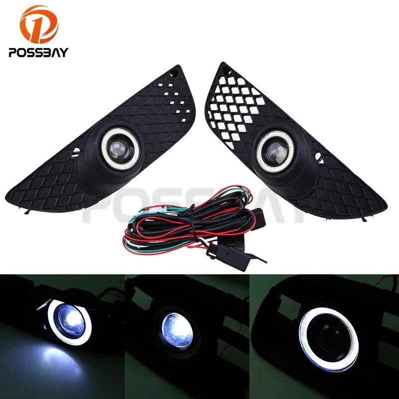 POSSBAY Auto Halo Ring Fog Light Lamp for Mitsubishi Lancer 2008 2012 LED Angel Eye DRL