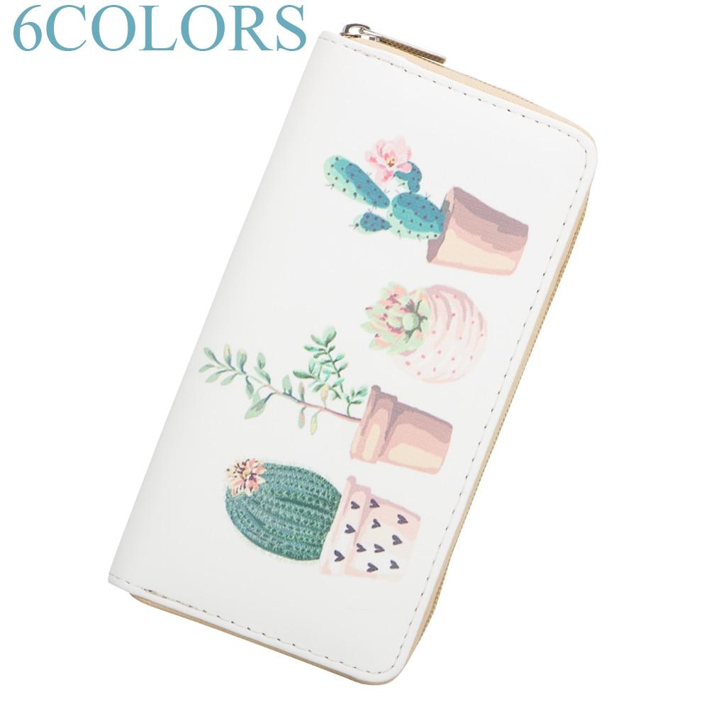 Sansarya 2018 Pretty Cactus Cartoon Printed Long Wallet for Women Girls Phone Money Bag Cute Fashion Female Purse with Zipper