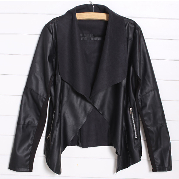 MALL Trendy Retro Lady Women Slim Biker Motorcycle PU Soft Leather Zipper Jacket Coat Black Asian Size S(US Size S(2) UK Size 2