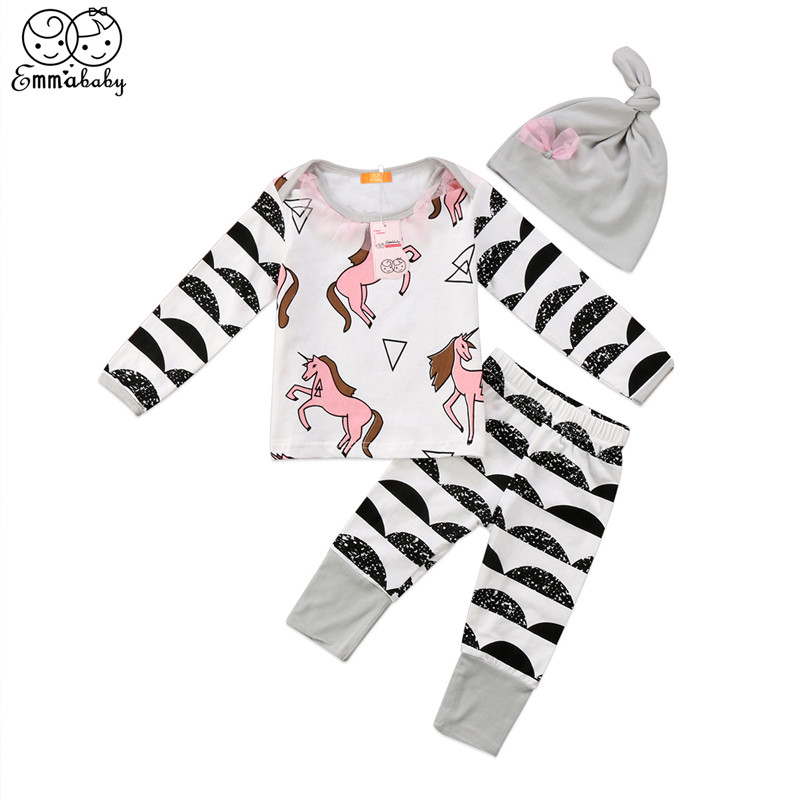 Baby Girl Unicorn Print Clothes Set Newborn Kids Long Sleeve T-shirt Tops+Pants 3Pcs 2018 New Years Outfit Baby Boy Clothes Set