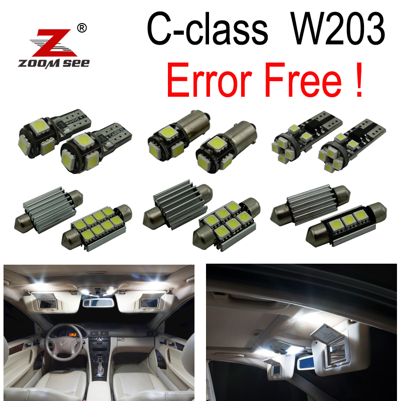 12pc X Error free LED lamp Interior Light Kit Package For Mercedes For Mercedes-Benz C class W203  C230 C240 C280 (2000-2007) 27pcs led interior dome lamp full kit parking city bulb for mercedes benz cls w219 c219 cls280 cls300 cls350 cls550 cls55amg