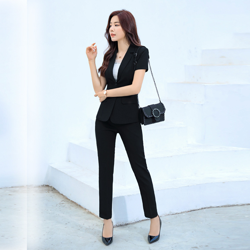 Occupation large size suit female summer new fashion short-sleeved suit trousers two-piece temperament solid color Slim women's
