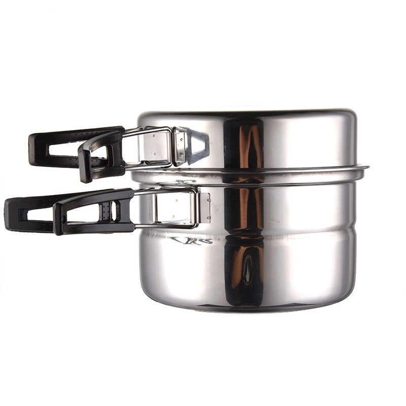 3pcs Outdoor Stainless Steel Pot Pans Foldable Handle Picnic Portable Cookware Outdoor Camping