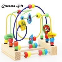 Wooden Toy Maze Coaster Baby Puzzle Learning Early Education Toys For Kids Vegetables Fruit Around Beads Building Blocks MX01