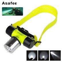 Asafee Diving Headlight Head Flashlight 800LM XML T6 LED Waterproof Underwater 50M Diving Light Flashlight Torch lamp