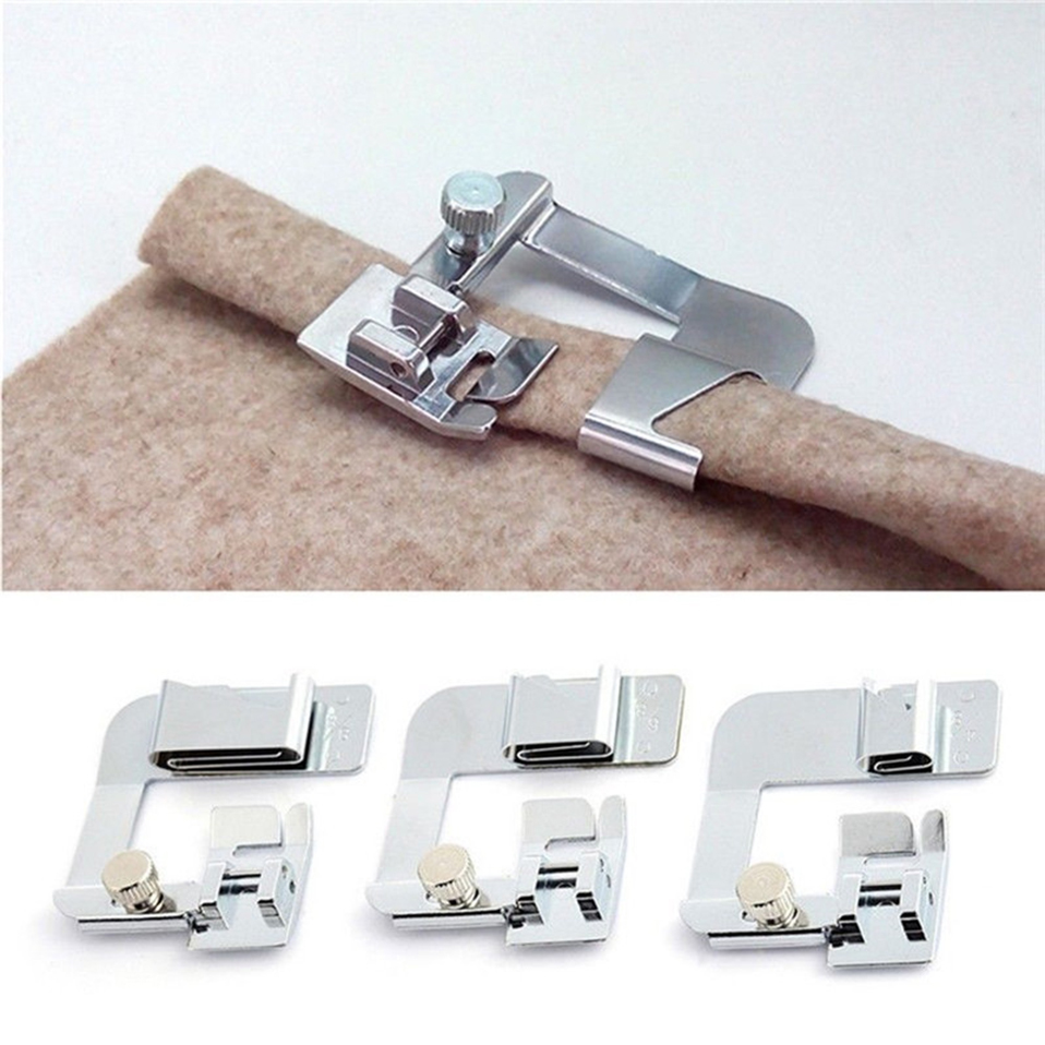 1PC Hot Sale Domestic Sewing Machine Foot Presser Rolled Hem Feet Set for Brother Singer Sewing Accessories 3 Size button embellished rolled up hem belted shorts