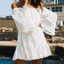 Cover-ups 2019 White Cotton Tunic Beach Dress Summer Tunic For Women Beachwear Swimsuit Cover Up Beach Woman Sarong palge #Q745