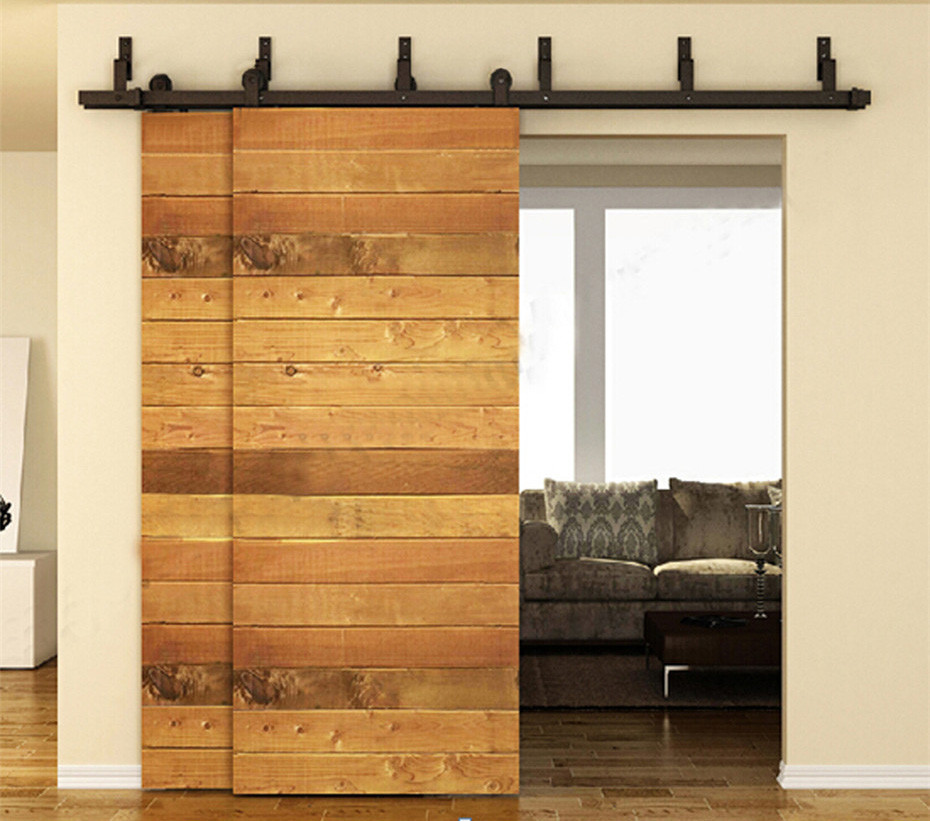Etonnant 10/12/13/15/16 FT Antique Country Farm Bypass Sliding Double Door Hardware  Barn Wood Interior Rollers Closet Track Kit Set In Doors From Home  Improvement On ...