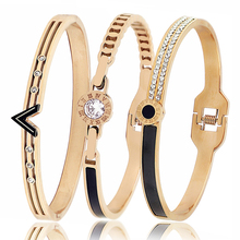 New Arrival Stainless Steel Women Bangle Bracelets Fashion Cubic zirconia Rose Gold Jewelry