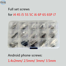 YuXi 15 bags مجموعة مسامير كاملة طقم إصلاح أجزاء آيفون 4 4s 5 5s 5c 6 6s plus 7 + أندرويد مسامير الهاتف صندوق بلاستيكي