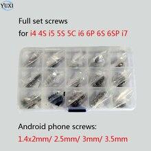 YuXi 15 worków pełny zestaw śrub zestaw naprawczy części do iphone 4 4s 5 5s 5c 6 6s plus 7 + telefon z systemem android śruby + plastikowe pudełko