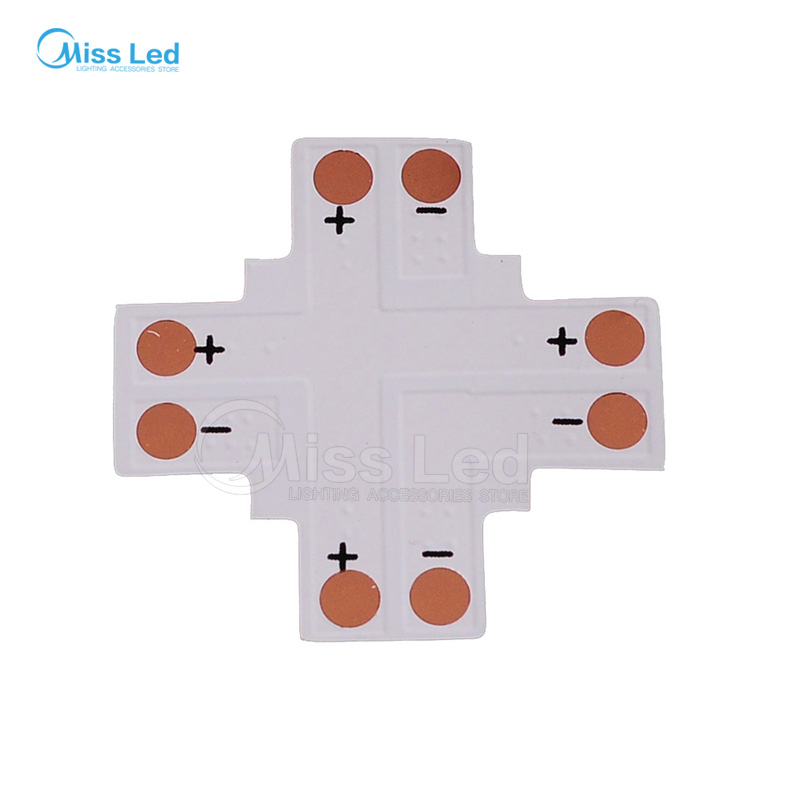 10 Pack 8 Mm Plus Shaped 4 Way Solderless Connector Splitter For 3528 LED Strip
