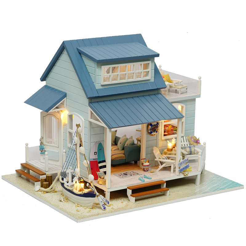 Doll House Miniature DIY Dollhouse With Furnitures Wooden House Toys For Children Birthday Christmas Gift A037