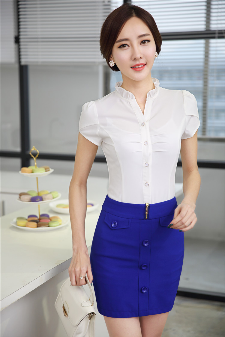 Online Shop Formal Uniform Design Summer Short Sleeve Elegant ...