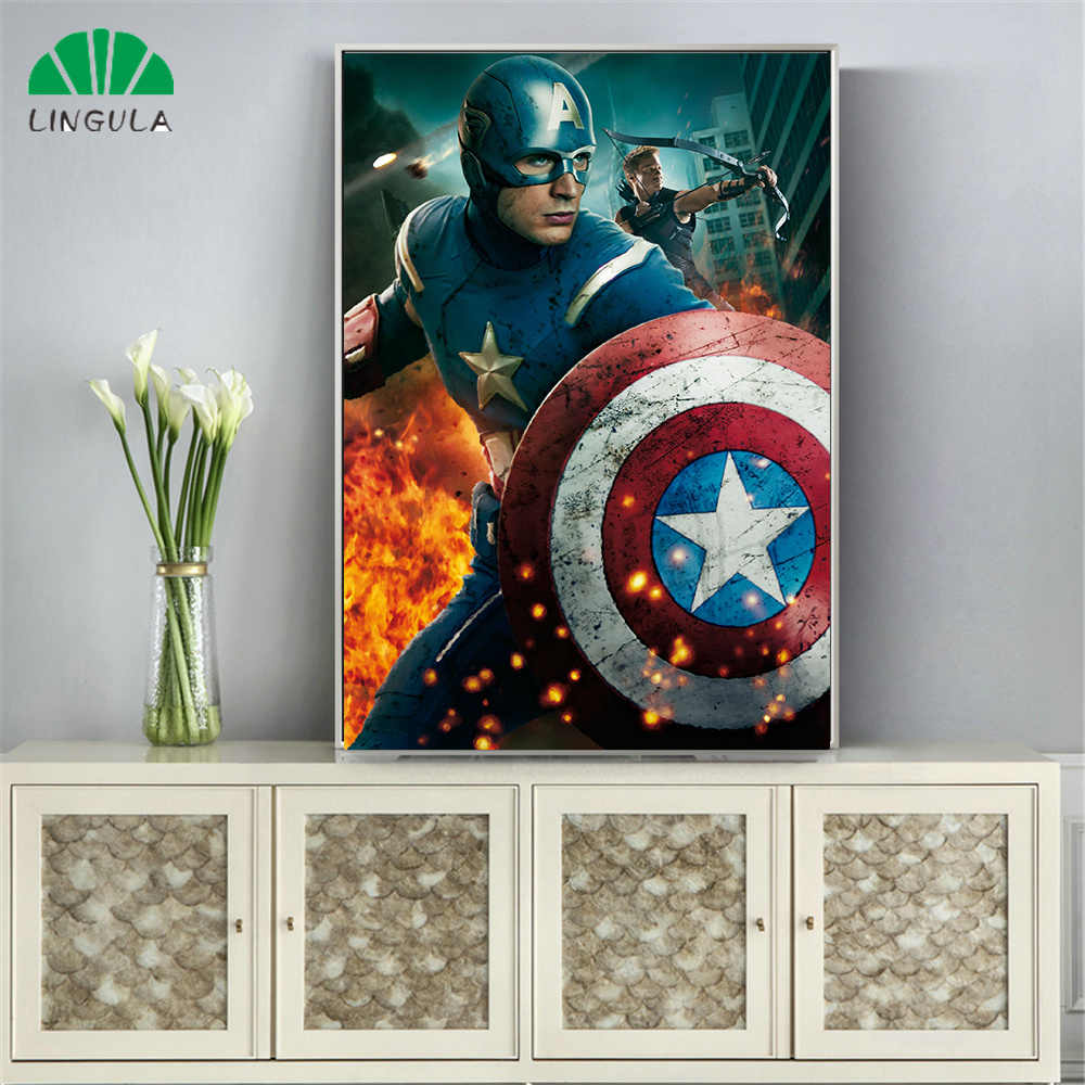 Marvel Movie Posters and Prints Captain America the first Avenger Abstract Wall Art Paint Canvas Painting Bedroom Home Decor