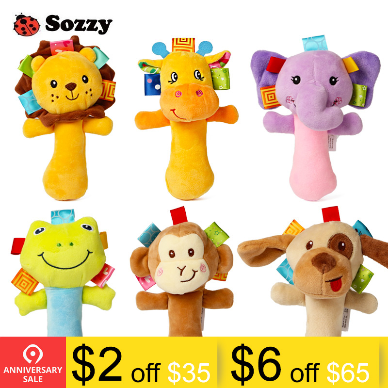 Baby & Toddler Toys Open-Minded Lovely Animal Happy Monkey Round Hand Bell Rattle Plush Educational Cognition Kids Soft Baby Toy Customers First