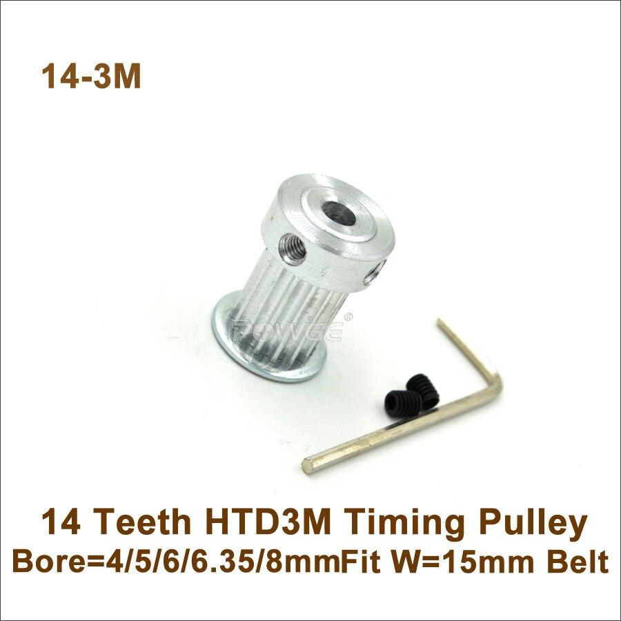 20teeths 7075 Aluminum Material M5 Htd Pulley Bar Stock In Timing Belt Pulleys Powge 14 Teeth 3m Bore 4 5 6 635