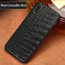 Luxo couro de crocodilo natural caso do telefone para o iphone x 12 mini 12 pro max 11 pro max xs xr xs max se 2020 5 5S 6s 7 8 plus