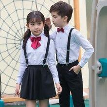 цена на Children's uniforms  new style boys and girls fashion dress suits kindergarten pupils bibs show chorus costumes
