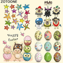 ZOTOONE Easter Egg Cartoon Animal Set Iron Patches for Clothes Decoration DIY Stripes Custom Patch Stickers Applique T-shirt E