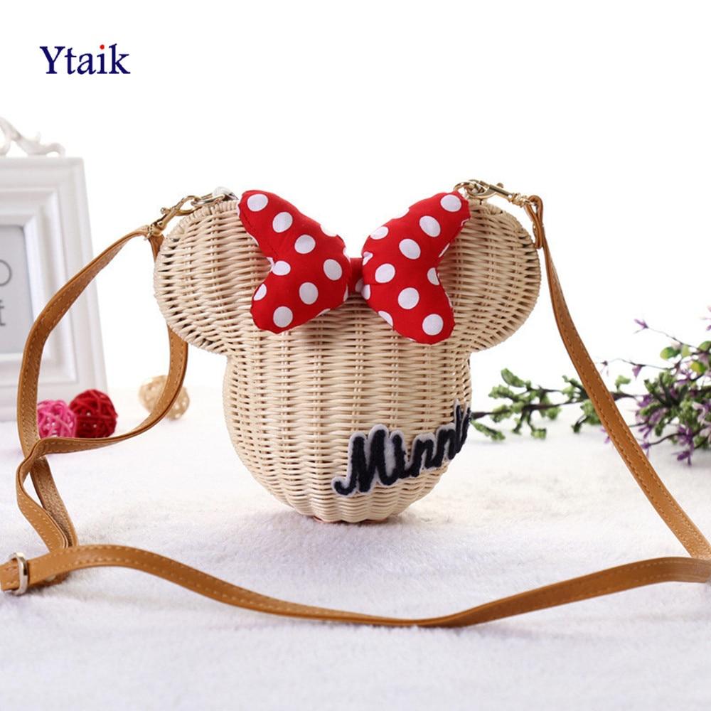 YTAIK New Style Straw Bucket Handmade Rattan Bag Cartoon Women Purse Lovely Girl Straw Beach Shoulder Bag Vintage Casual Wicker