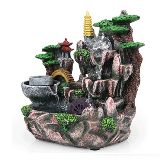 Water Fountain Home Decor Fengshui Mountain Design Creative Indoor Humidifier