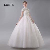 LORIE Floor Length Wedding Dress High Neck Elegant Appliques with Flowers Short Sleeve Lace Up Beaded Bride Dress Wedding Gown