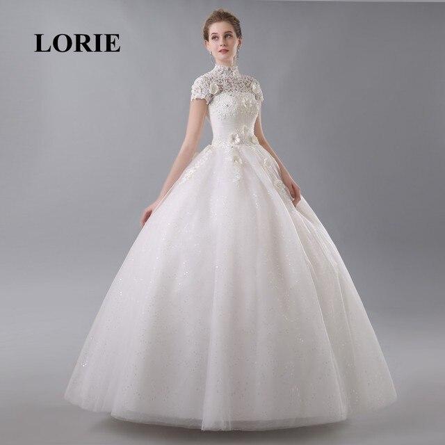 LORIE Bodenlangen Hochzeitskleid High Neck Elegante Appliques mit ...