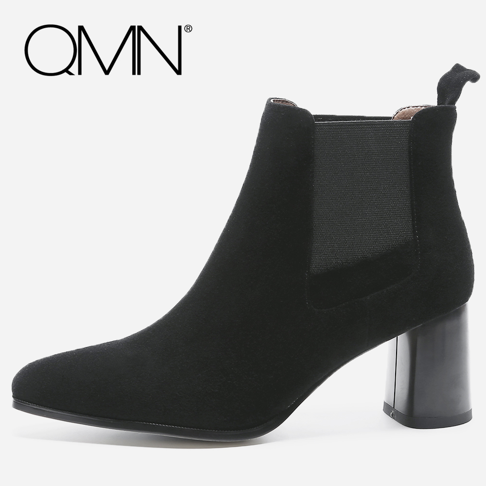 QMN women genuine leather ankle boots for Women Natural Suede Chelsea Boots Shoes Woman Block Heel Winter Boots Botas 34-39 qmn women crystal embellished natural suede brogue shoes women square toe platform oxfords shoes woman genuine leather flats