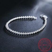 LEKANI, 925, твердый, Настоящее серебро, модный, 4 мм, Круглый, бисер, браслет, 20 см, для девушек-подростков, женщин, подарок, хорошее ювелирное изделие