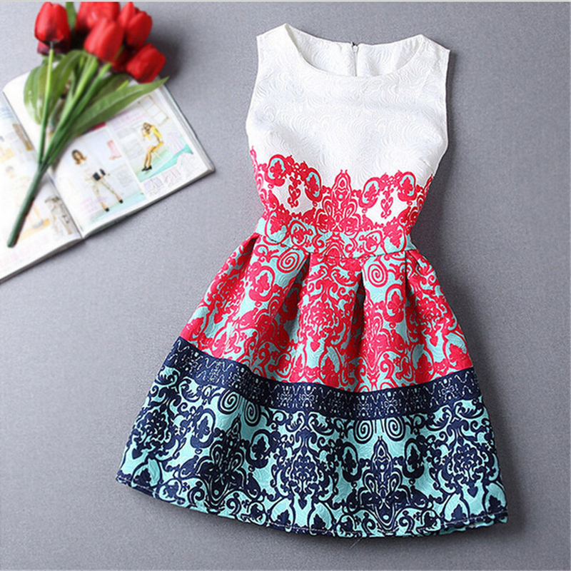 a5dc58e32a34 Sleevless Baby Girl Dress Rose Floral Pattern A-Line Princess Dress Girls  Chinese Style Baby Dress Designer Kids Clothes 6-12Y