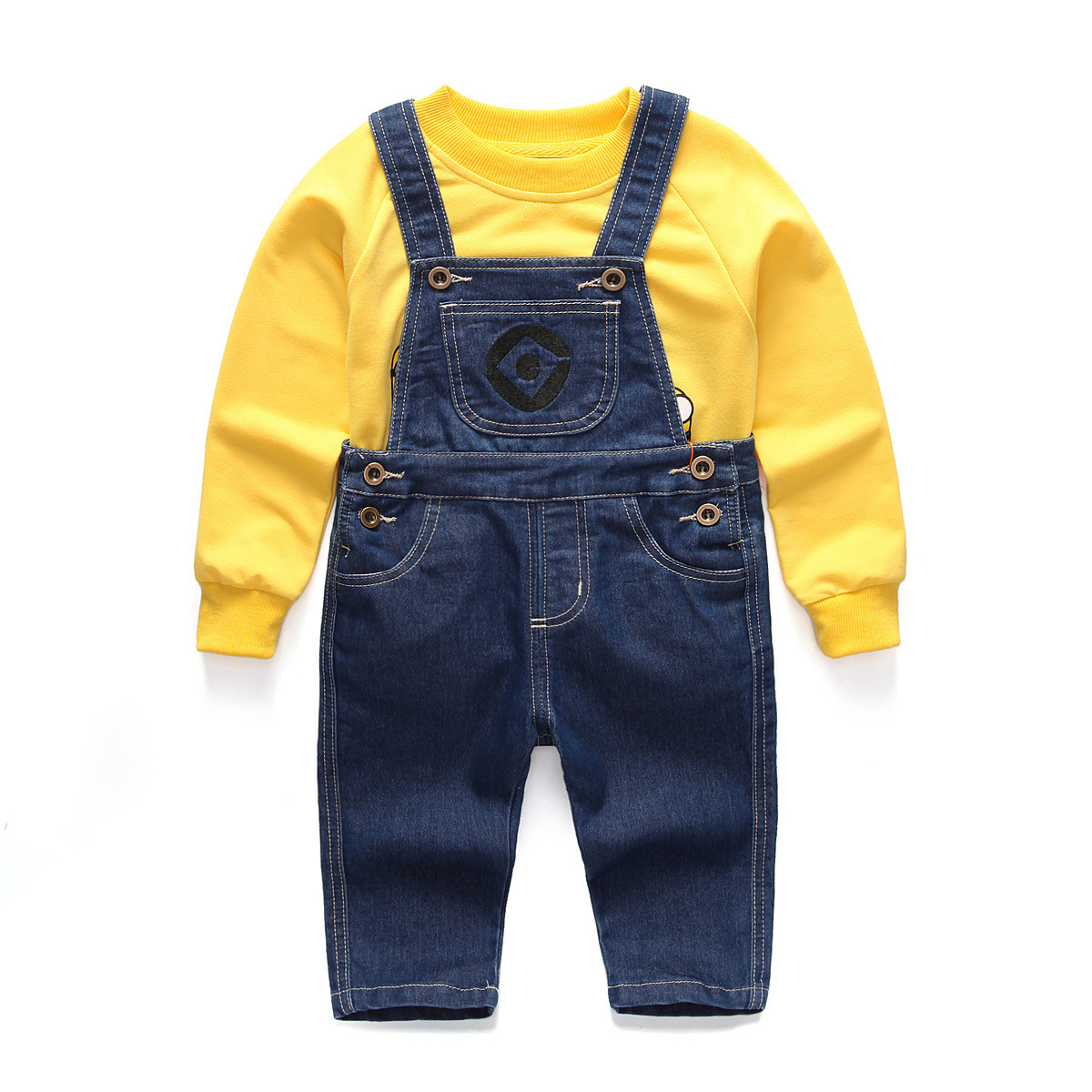 2018 Autumn Winter Kids Clothes Sets For Boys Girls Minions Pattern Long Sleeve T Shirts + Overalls Jeans 2 Pcs Children Baby 2017 summer girls sets clothes short sleeve chiffon baby girls sets for kids big girls t shirts and stripe shorts children suits