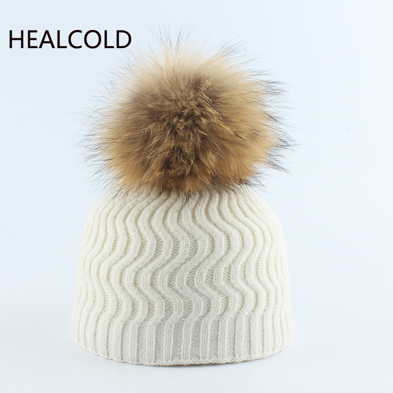 Baby Wool Beanies Winter Knitted Warm Hats Real Fur Pompom Hat  For Children Girls And Boys 2019(China)