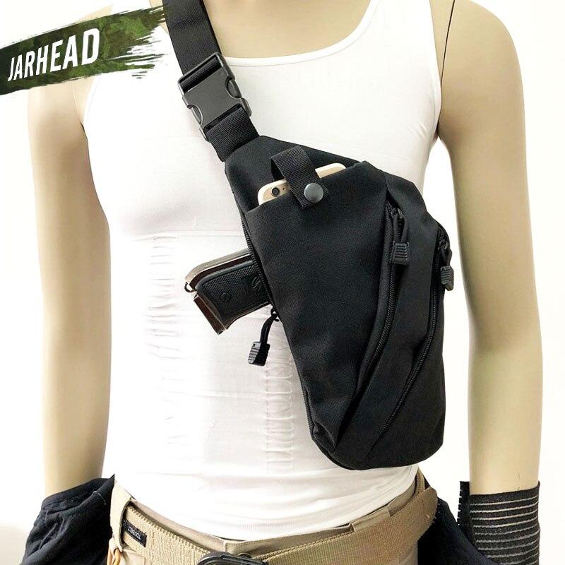 Çok fonksiyonlu gizli taktik depolama tabancası çantası kılıfı erkek sol sağ naylon omuzdan askili çanta anti-hırsızlık çanta göğüs çantası avcılık