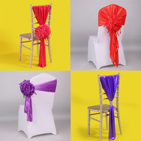 24pc Royal Blue Big Flower Chiavari Chair Sash Retail Baby Pink Bowknot Chair Cap Cover For