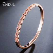 ZAKOL Luxury AAA Cubic Zirkonia Crystal Rose Gold Color Bracelet Bangles For Women Wedding Party Jewelry FSBP159(China)