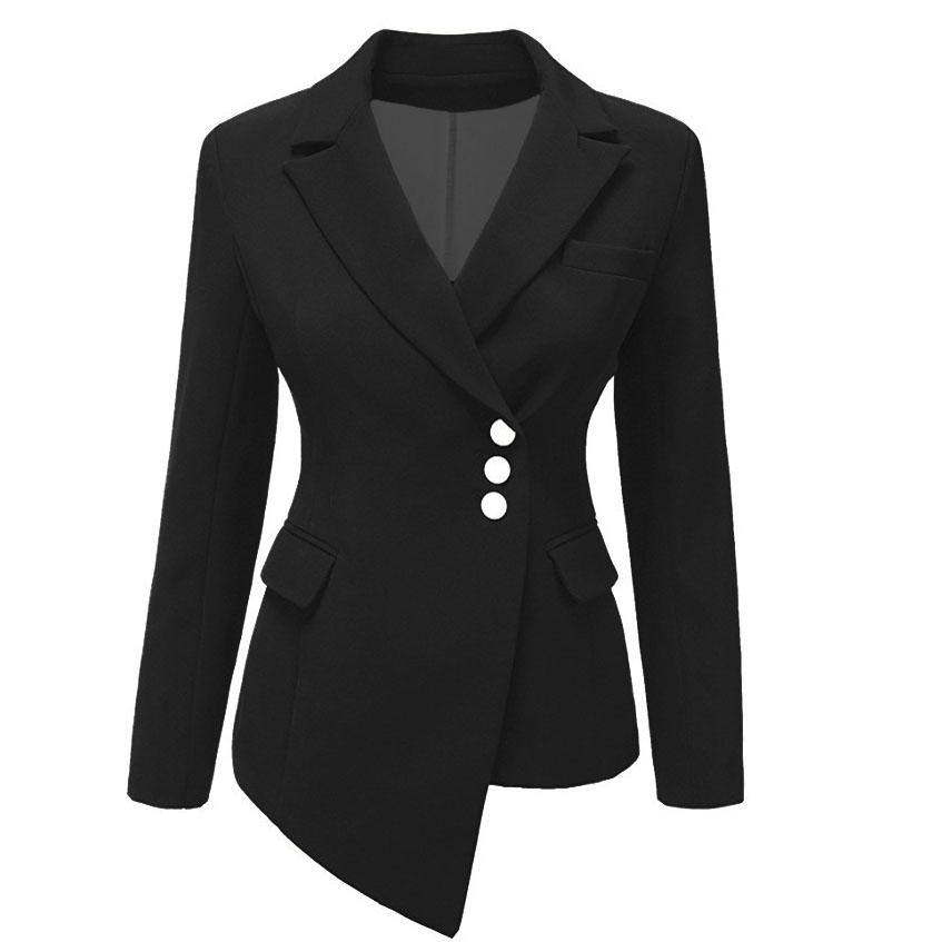2019 Brand New Womens Blazer Casual Long Sleeve Button Tops Fashion Ladies Coats Asymmetrical Turtleneck Suit Blazers Solid jeans con blazer mujer