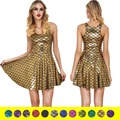 NEW 1001 Sexy Girl Women Summer Shiny dragon Fish scale Golden 3D Prints Reversible Sleeveless Skater Pleated Dress Plus size