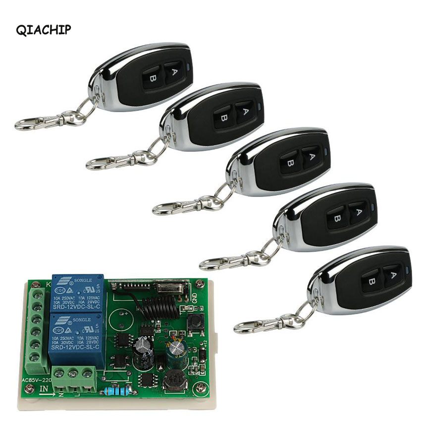Wireless 433 MHz RF 2 Channel Remote Control Learning Code EV1527 Transmitter And Relay Receiver DIY Light Garage Switch S1 433mhz rf transmitter receiver wireless code learning code switch relay remote control switch buttons smart home light ds35