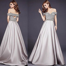 Gorgeous Beaded Gray Long Evening Dress Off Shoulder Back Hollow Formal Gowns Women Maxi Gowns Middle East Vestido De Noiva Gown