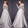 Moldeado magnífico Gris Vestido de Noche Largo Del Hombro Back Hollow Vestidos formales de Las Mujeres Maxi Vestidos de Oriente medio Vestido De Noiva vestido