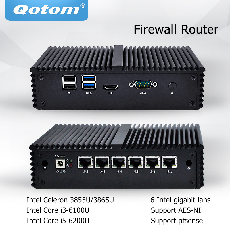 Pfsense Qotom Mini PC with Intel Celeron Core i3 i5, 6 Intel LAN Micro Mini Computer AES-NI Fanless Mini PC Firewall router qotom pfsense mini pc i5 i3 micro computer linux ubuntu fanless mini pc server dual core firewall ase ni industrial computer