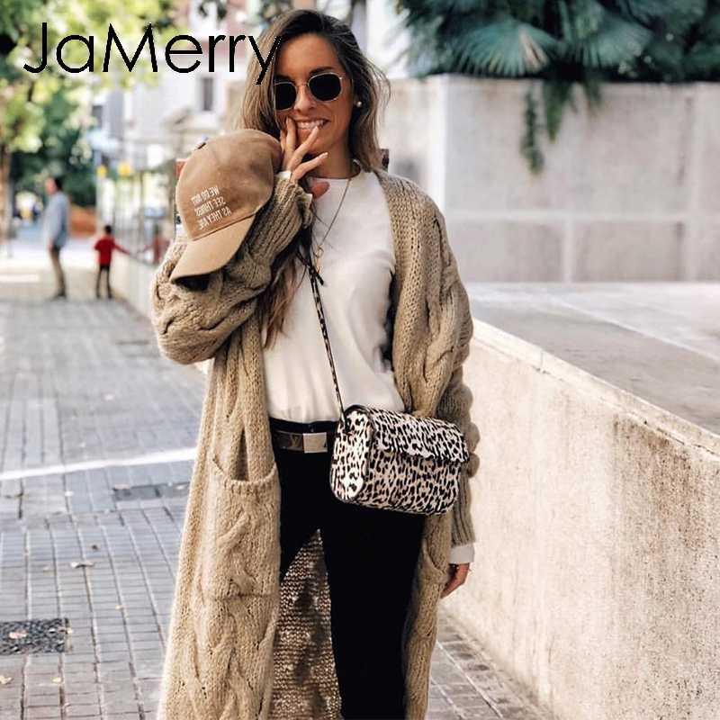 JaMerry Vintage kış tiftik uzun hırka örme kazak kadınlar uzun kollu kadın jumper hırka rahat streetwear femme
