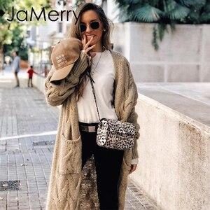 Image 2 - JaMerry Vintage winter mohair lange vest gebreide trui vrouwen Lange mouw vrouwelijke jumper vest Casual streetwear femme