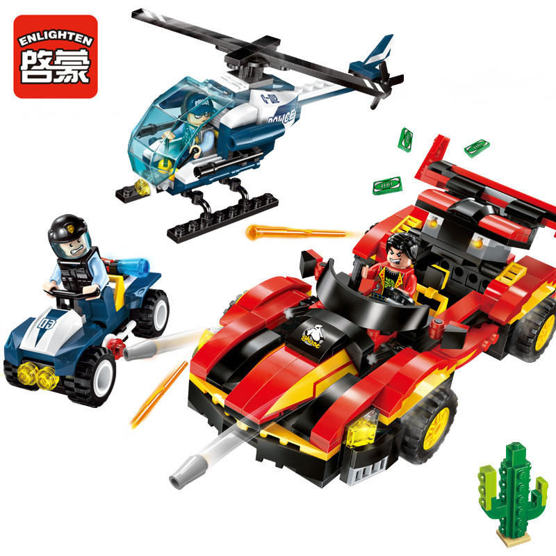 ENLIGHTEN 405pcs City Police Battle Force Blocks Toy Drag Racing Model Building DIY Block Toys for Kids Children Brinquedos Sets decool 3117 city creator 3 in 1 vacation getaways model building blocks enlighten diy figure toys for children compatible legoe