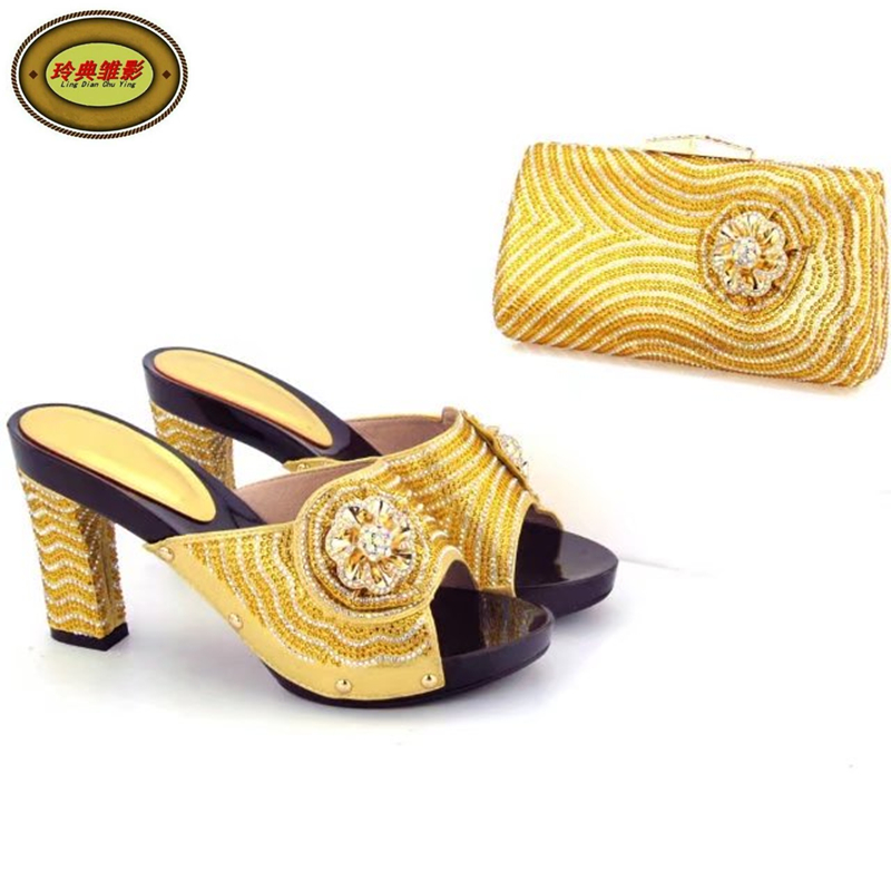 Фото YH17 Gold Luxury Crystal Woman High Heels Matching Bag Top Fashion African Nigerian Wedding Shoes And Bag Set Free Shipping