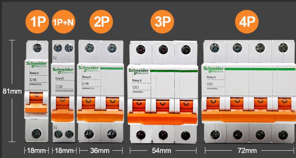 Schneider цепи автоматический воздушный выключатель EASY9 C20 1P+ N C40 Американская классификация проводов 2р 3P C25 4P 6A 10A 16A 20A 25A 32A 40A 50A 63A