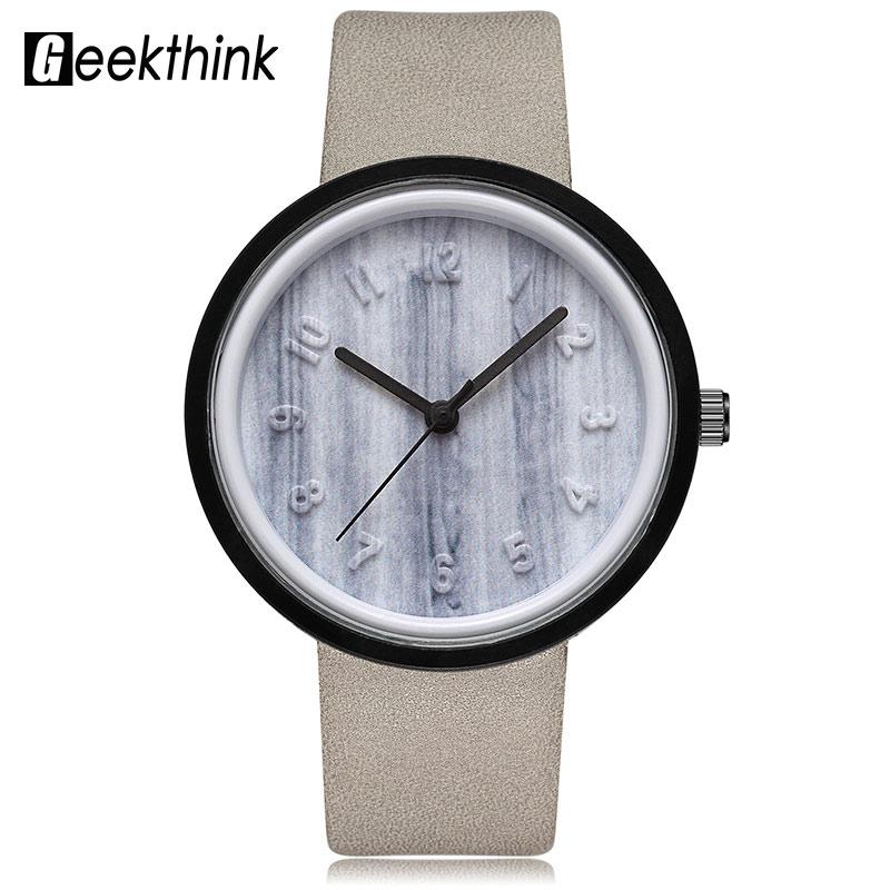 GEEKTHINK Creative Marble Carving Fashion Quartz Watch Woman Fashion Brand Leather Strap Ladies Casual Dress Clock Female Girls