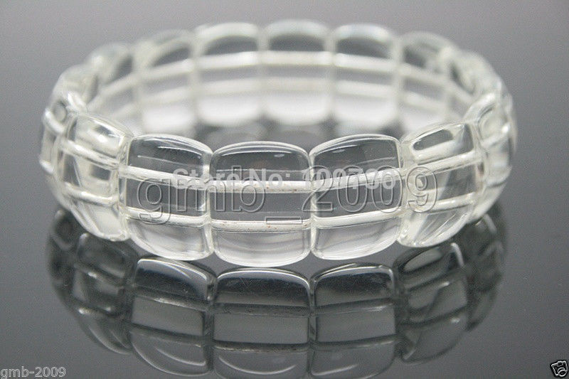 00926 Fashion Clear Natural White Crystal Quartz Loose Beads Stretchy Bracelet