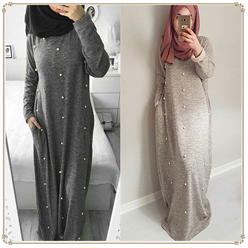 NEW Maxi Casual Cotton Female Long Muslim Dress With Pearl Pocket Fashion Turkey islamic Clothing Robe Musulmane Luxury Abaya image